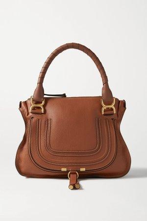 Tan Marcie medium textured-leather tote | Chloé | NET-A-PORTER