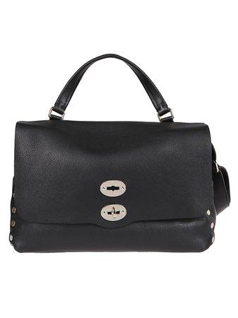 Black Leather Postina Tote Bag