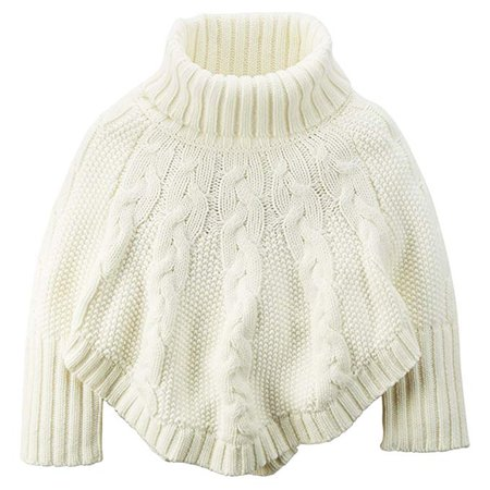 Amazon.com: Carter's Little Girls' Cable Knit Poncho Sweater (3T, Ivory): Clothing