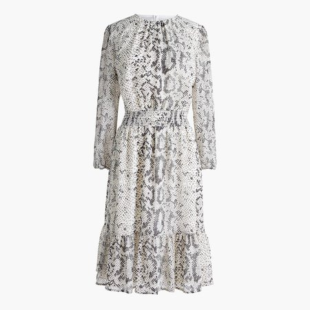 Animal-print smocked-waist dress