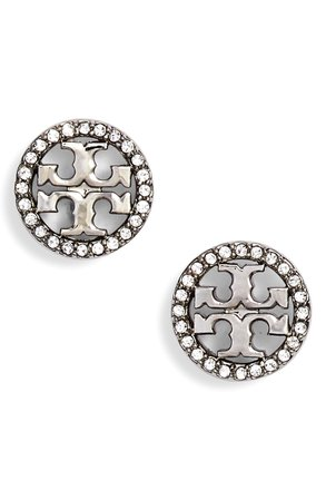 Tory Burch Crystal Logo Circle Stud Earrings | Nordstrom