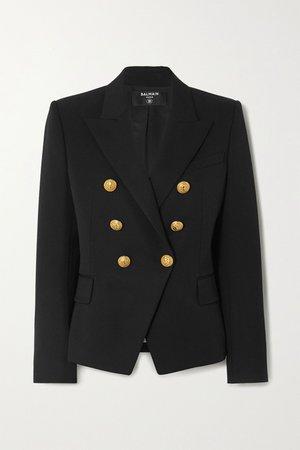 Black Double-breasted wool-twill blazer   Balmain   NET-A-PORTER