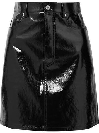 Crinkled Patent-leather Mini Skirt - Black