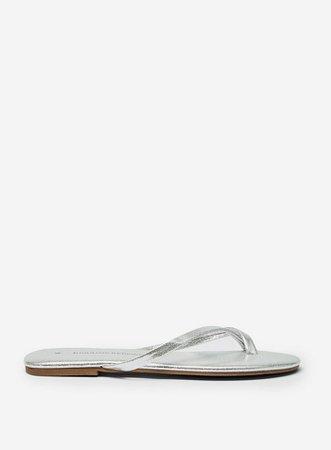 Silver Flip Flop Sandals   Dorothy Perkins