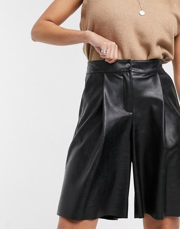 Topshop faux leather city shorts in black   ASOS