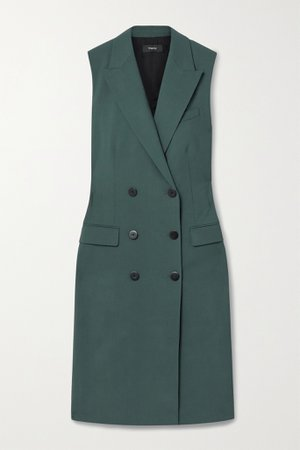 Forest green Double-breasted stretch-wool vest | Theory | NET-A-PORTER