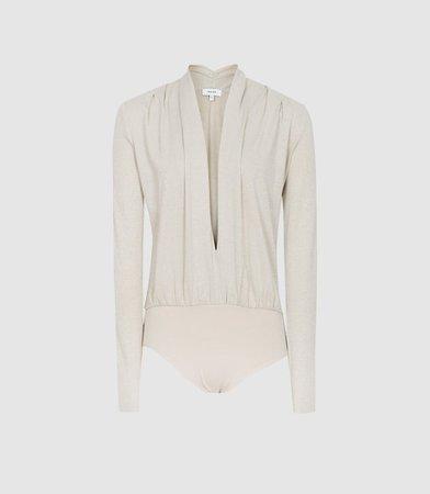 Rosalba Silver Long Sleeved Plunge Bodysuit – REISS