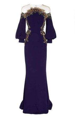 Embroidered Crepe Satin Illusion Neckline Gown