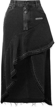 Off-White - Asymmetric ruffled denim skirt