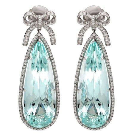 Aquamarine Diamond Platinum Pendant Earrings For Sale at 1stDibs