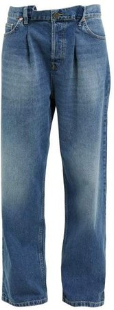 Fold Dad Baggy Boyfriend Jeans - Womens - Dark Blue