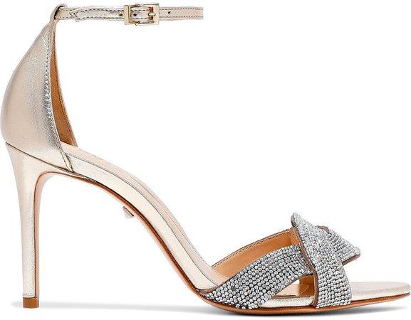 Jolita Crystal-embellished Metallic Leather Sandals