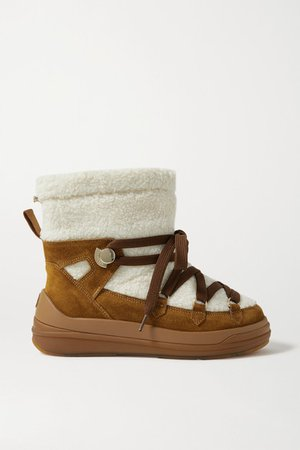 Insolux Suede And Shearling Snow Boots - Tan