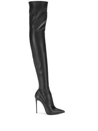 Shop black Le Silla Eva thigh-high leather boots with Afterpay - Farfetch Australia