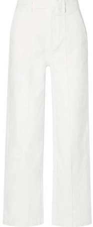 Cotton-blend Twill Wide-leg Pants - White