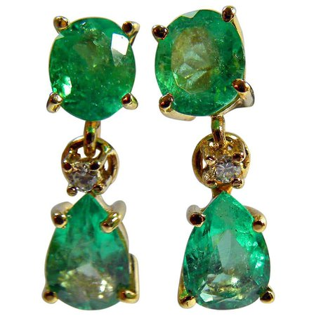 3.56ct Natural Colombian Emerald earrings