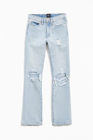BDG Mid-Rise Bootcut Jean – Destroyed Light Wash   Urban Outfitters