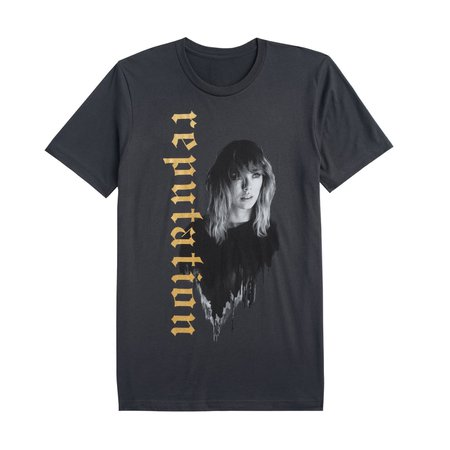 DARK GREY TOUR TEE WITH REPUTATION IN GOLD – Taylor Swift Official Store