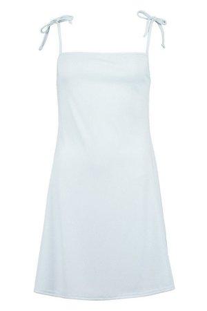 Rib Tie Shoulder Square Neck Swing Dress | boohoo white