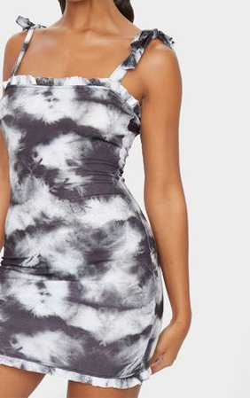 Black Tie Dye Frill Tie Shoulder Bodycon Dress | PrettyLittleThing