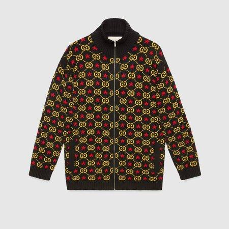Black RTW GG star cotton jacquard bomber jacket | GUCCI® US