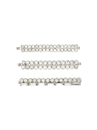 Metallic Alessandra Rich Double Row Crystal Hair Slides (Set Of 3) | Farfetch.com