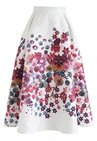 Pinky Floral Print Embossed Midi Skirt - NEW ARRIVALS - Retro, Indie and Unique Fashion