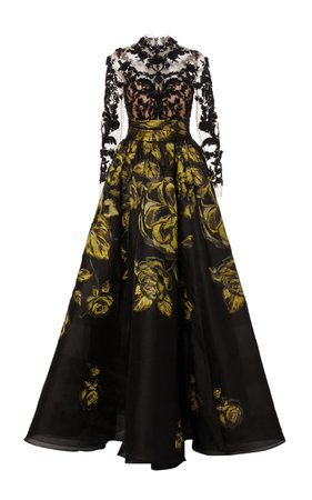 Floral-Embroidered Silk-Jacquard and Lace Gown by Marchesa | Moda Operandi