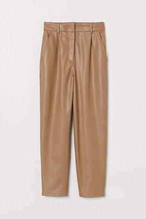 Faux Leather Pants - Beige