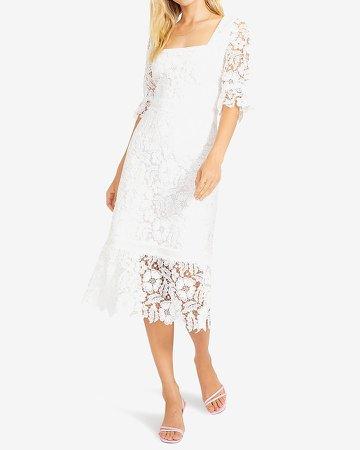 Bb Dakota Square Neck Lace Midi Dress