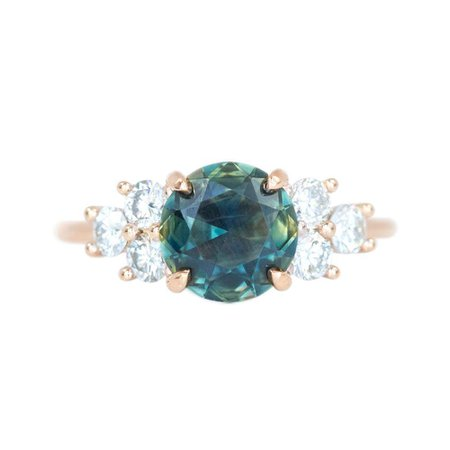 2.07CT UNTREATED GREEN PARTI SAPPHIRE AND WHITE DIAMOND SIDE STONE CLUSTER RING IN 14K ROSE GOLD by Anueva jewelry