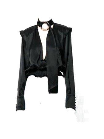 Black long sleeve jacket top w/ gold ring black choker