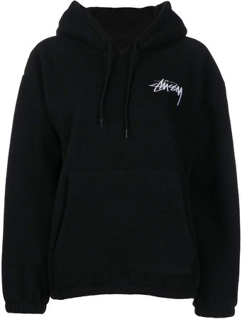 embroidered logo fleece hoodie