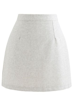 Wool-Blended Bud Mini Skirt in Ivory - Retro, Indie and Unique Fashion