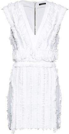 Fringed Stretch-cotton Mini Dress