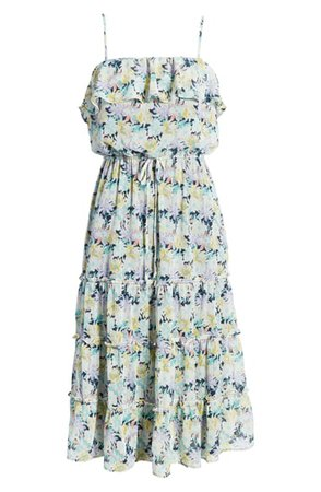 Row A Floral Tiered Midi Dress | Nordstrom