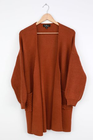 Rust Brown Cardigan - Balloon Sleeve Sweater - Cable Knit Cardi - Lulus