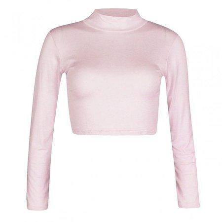 light pink long sleeve crop top