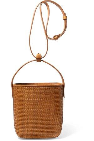 TL-180 | Petit Panier Saigon woven raffia and leather shoulder bag | NET-A-PORTER.COM