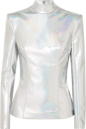 Iridescent Faux Leather Turtleneck Top - Silver