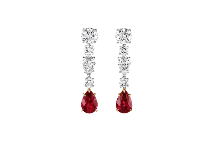 Diamond and Ruby Drop Earrings | Harry Winston