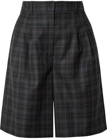 Checked Wool-blend Twill Shorts - Black