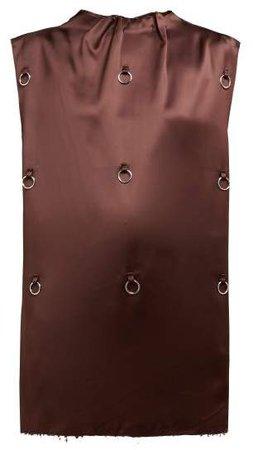 O Ring Embellished Satin Tank Top - Womens - Brown