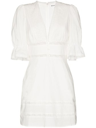 White Reformation Cassatt lace trim mini dress 1306033IVO - Farfetch