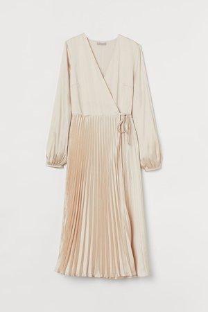 Pleated Wrap Dress - Beige