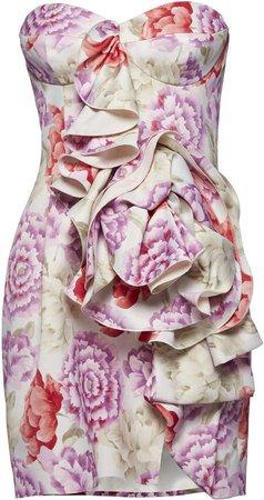 Magda Butrym Ruffled Floral Mini Dress