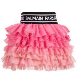 Balmain - Pink Tulle Logo Skirt | Childrensalon