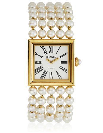 CHANEL, 'MADEMOISELLE' CULTURED PEARL AND GOLD WATCH