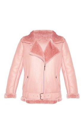 Rose Oversized Pu Aviator | Coats & Jackets | PrettyLittleThing