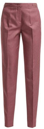 Lisa Checked Wool Blend Trousers - Womens - Pink Multi